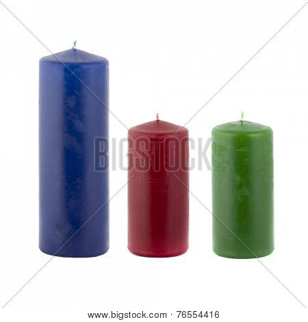Paraffin candles isolated on white background