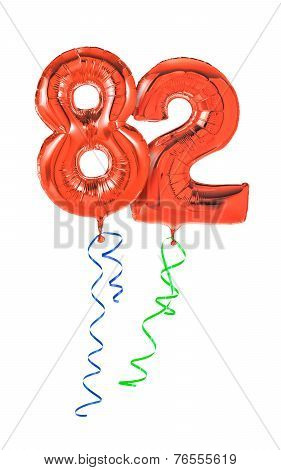 Red balloons with ribbon - Number 82