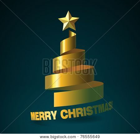Christmas tree from golden ribbon, and with golden star on dark turquoise background. The Merry Christmas bending as continuation of the ribbon.