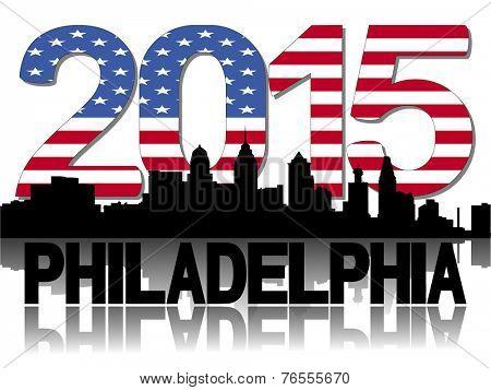 Philadelphia skyline 2015 flag text vector illustration