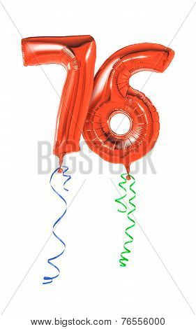Red balloons with ribbon - Number 76