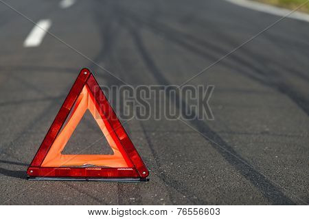 Red triangle of a car