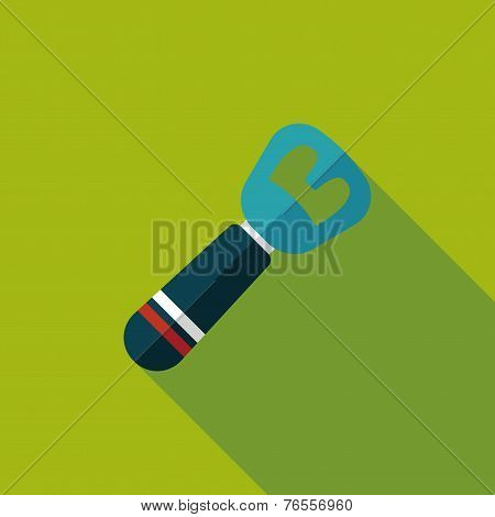 Kitchenware Tin Opener Flat Icon With Long Shadow