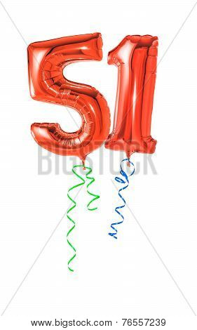 Red balloons with ribbon - Number 51