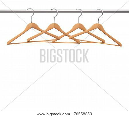 Coat Hangers On A Clothes Rail. Vector