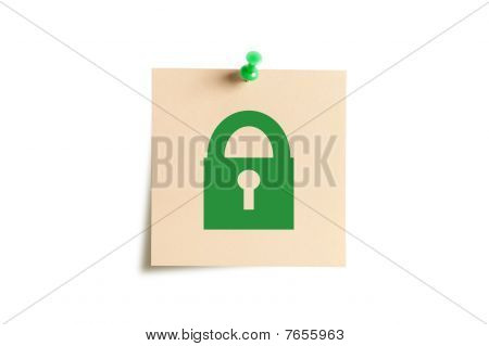 Sticker With A Thumbtack Isolated On A White Background.