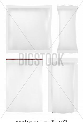 Collection of various plastic bags on white background.