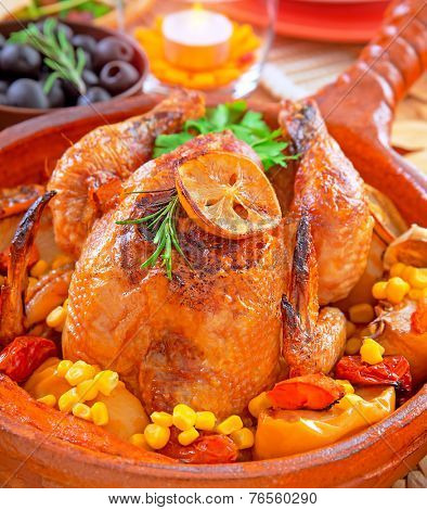 Traditional Thanksgiving dinner with tasty fried turkey as main dish, festive food in luxury restaurant, great family holiday, autumn holidays concept