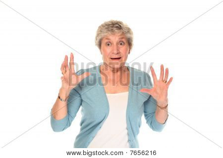 Senior Older Woman Looking Surprised