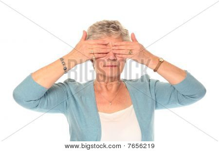 Senior Older Woman Covering Eyes