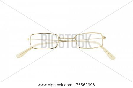 Golden eyeglasses isolated on white