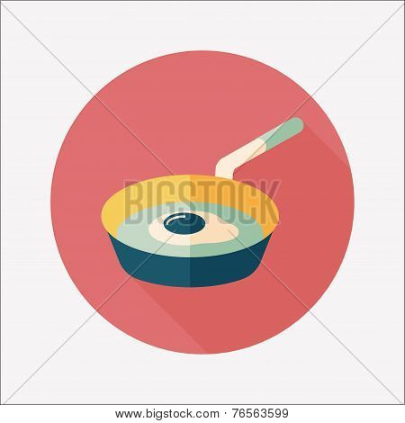 Kitchenware Frying Pan And Shovel Flat Icon With Long Shadow,eps10