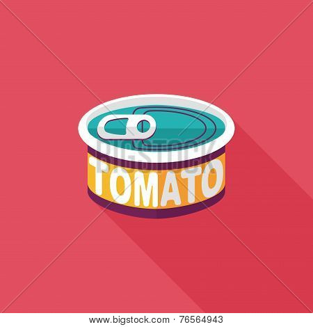 Kitchenware Tomato Can Flat Icon With Long Shadow,eps10