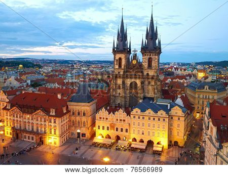 own Square and Church of our Lady Tyn. Prague, Czech