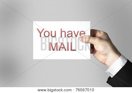 Hand Holding Card You Have Mail
