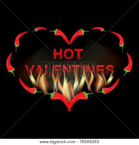 Valentine card red pepper in fire