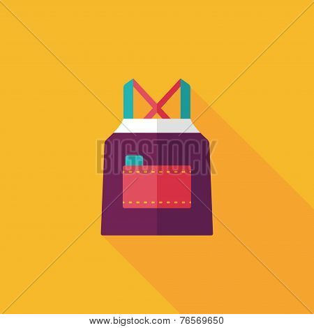 Kitchenware Apron Flat Icon With Long Shadow