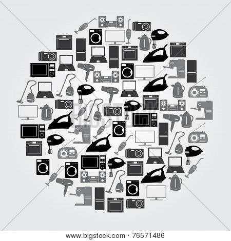Home Electrical Appliances Black And Gray Icons Eps10