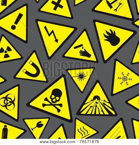 Yellow And Black Danger And Warning Signs Pattern Eps10
