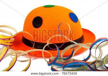 Orange Carnival Hat With Streamers