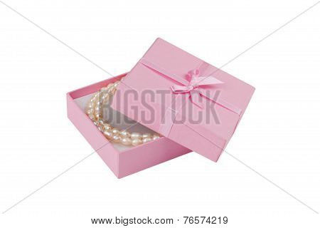 Gift Box With Pearl Necklace; Clipping Path