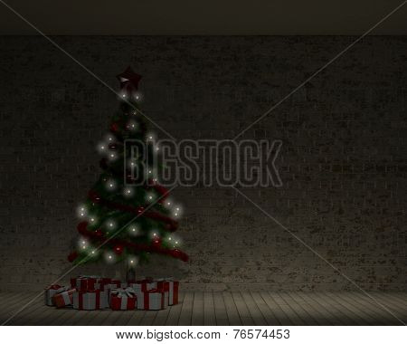 3D Render of an Empty Room with Christmas tree