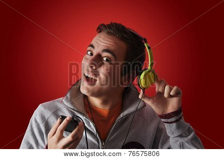 Youn Man Listening To Music