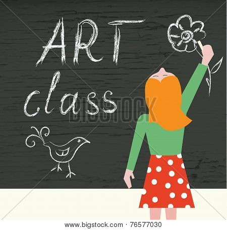 Art class background with child and blackboard
