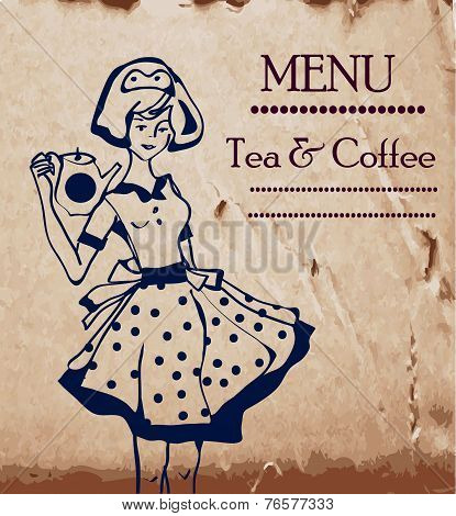 Menu template with retro waitresses and coffee