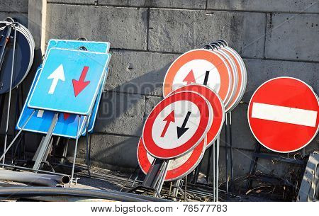 Road Signs In A Warehouse Of Construction Company