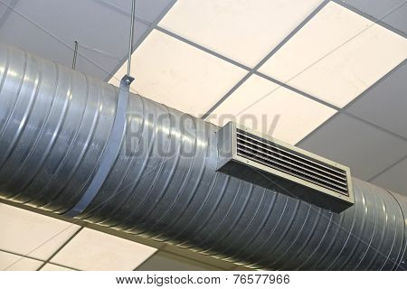 Steel Tube Of Air Conditioning And Heating In An Industrial Setting