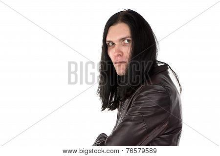 Image of informal man in leather coat