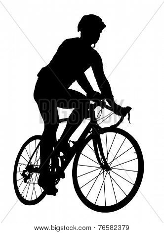 silhouette of a cyclist on a road bike