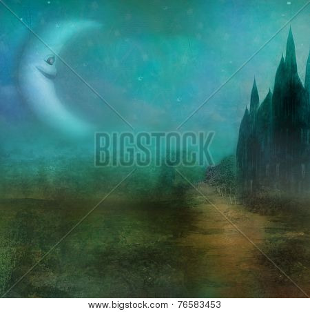 Abstract Landscape With Old Castle And Smiling Moon