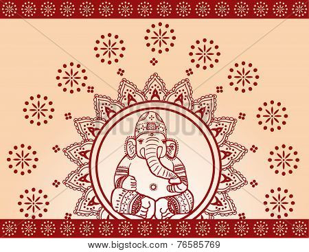 Red Ganesha Henna Background