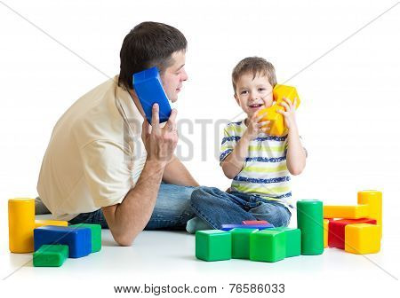 father and kid play and improvise together