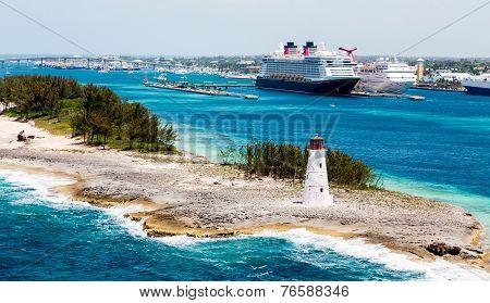 Nassau Lighthouse With Cruise Ships In Background