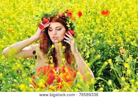 Girl Wearing Wreath