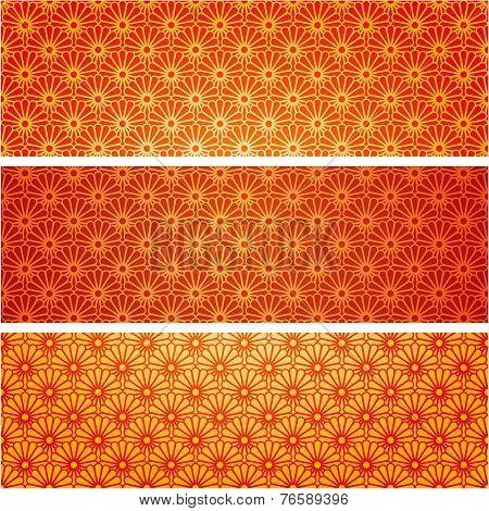 Japanese kimono pattern horizontal banners