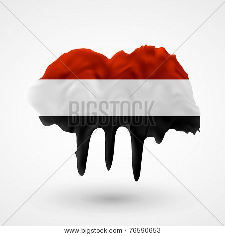 Flag of Yemen painted colors