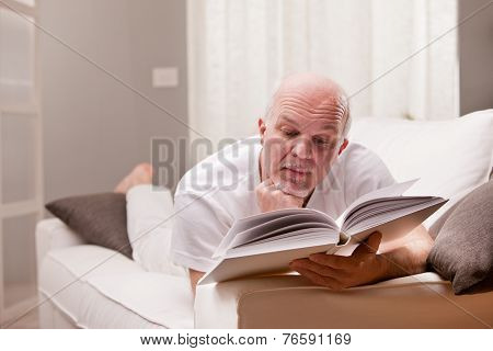 Man Reading A Book On The Sofa