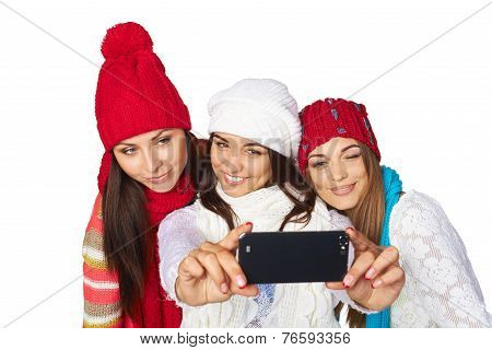 Friends making selfie.