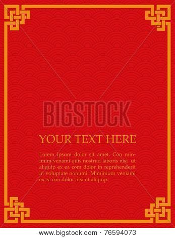 Red Chinese wave pattern card