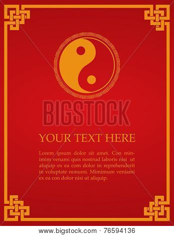 Red Chinese Yin Yang card