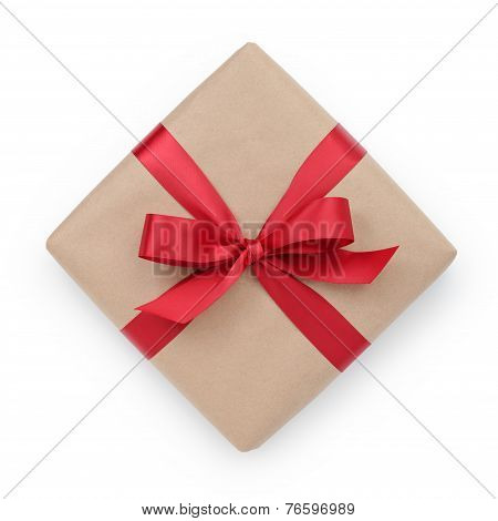 Kraft Paper Gift Box With Ribbon Bow From Above