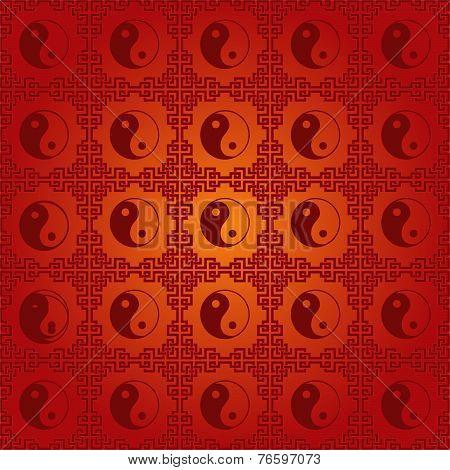 Red Chinese yin Yang Pattern