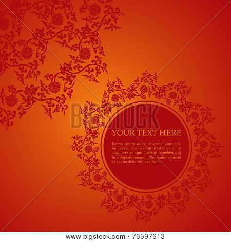 Red Chinese floral card