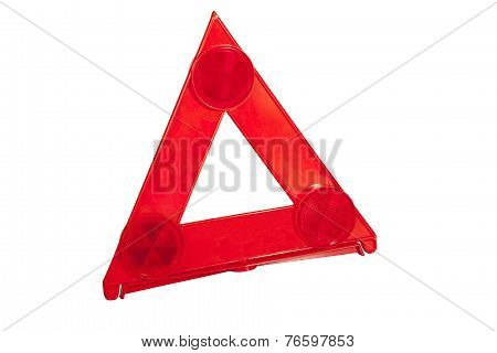 Three Reflectors On Bright Red Warning Triangle