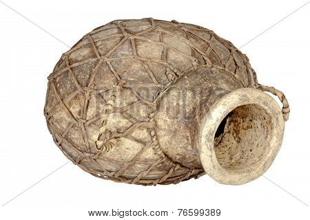 Traditional African Water Pot With Woven Net Covering