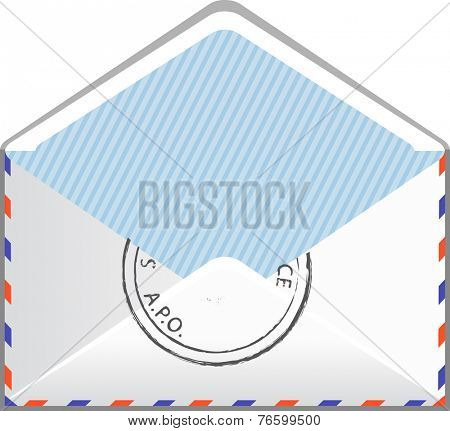 Open envelope mail with paper isolated on white background, illustration.
